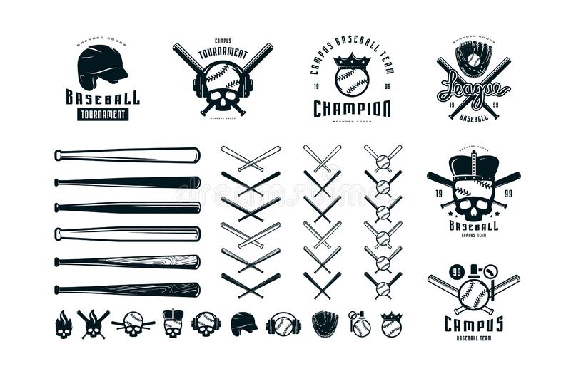 Emblems and badges set of campus baseball team royalty free illustration