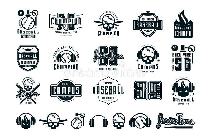 Emblems and badges set of campus baseball team. Graphic design for sticker and t-shirt. Black print on white background vector illustration