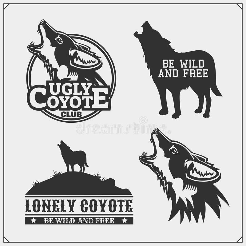 The emblems with coyote for a sport team. Vector stock illustration