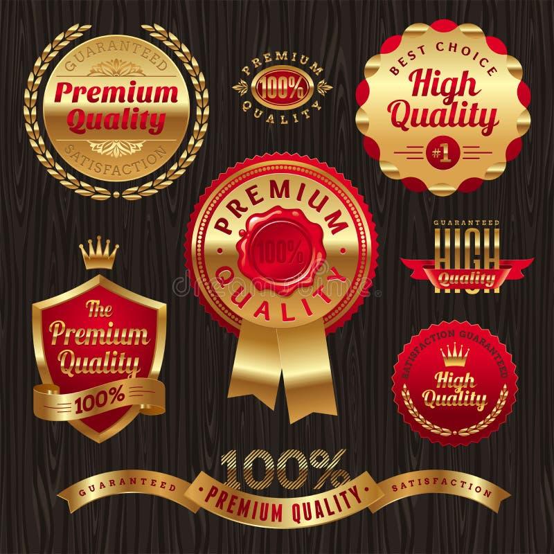 emblems guld- etikettkvalitet stock illustrationer