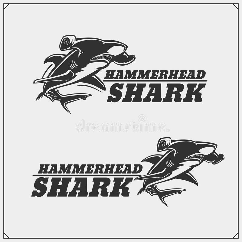 The emblems with hammerhead shark for a sport team. Black and white royalty free illustration