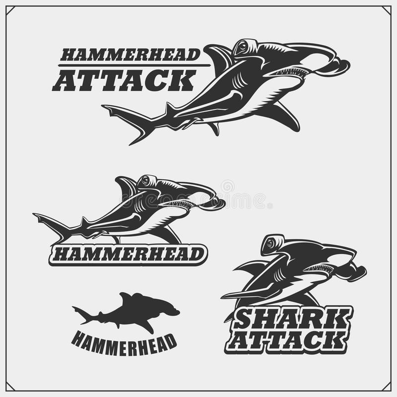The emblems with hammerhead shark for a sport team. Black and white stock illustration