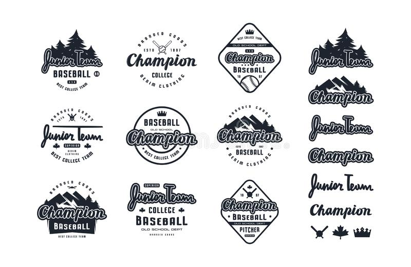 Emblems and lettering set of baseball team. Graphic design for sticker and t-shirt. Black print on white background royalty free illustration