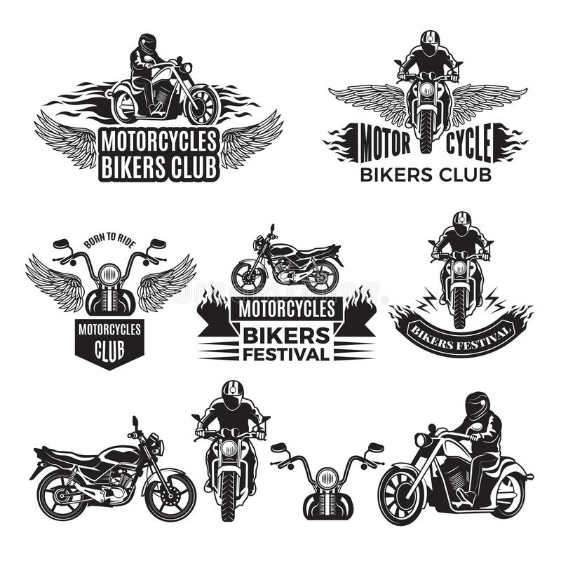 Emblems or logo designs for club of bikers. Illustrations of custom motorcycles and choppers stock illustration