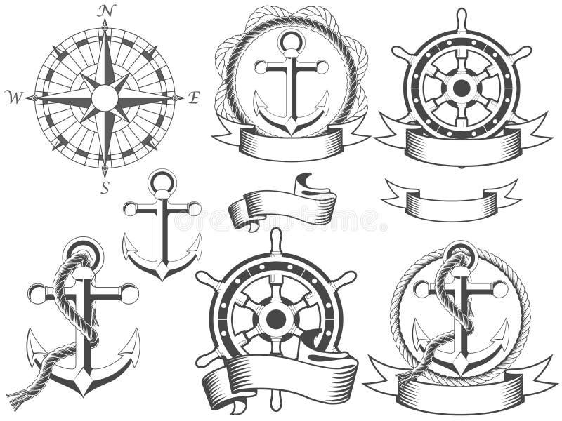 emblems nautiskt stock illustrationer
