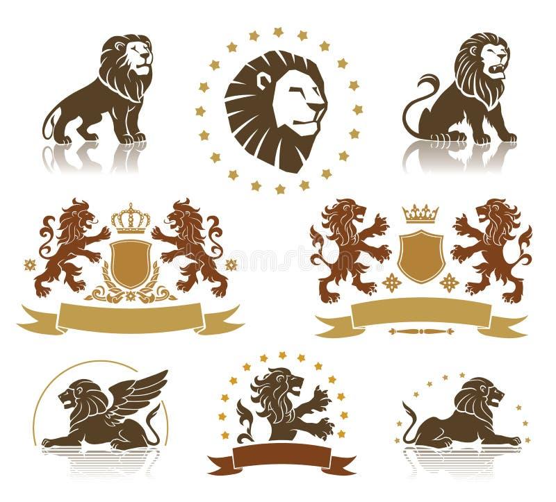 Free Emblems Set With Heraldic Lions Stock Photos - 41738013