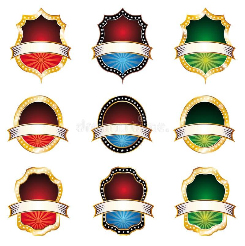 emblems ställde in tappning royaltyfri illustrationer