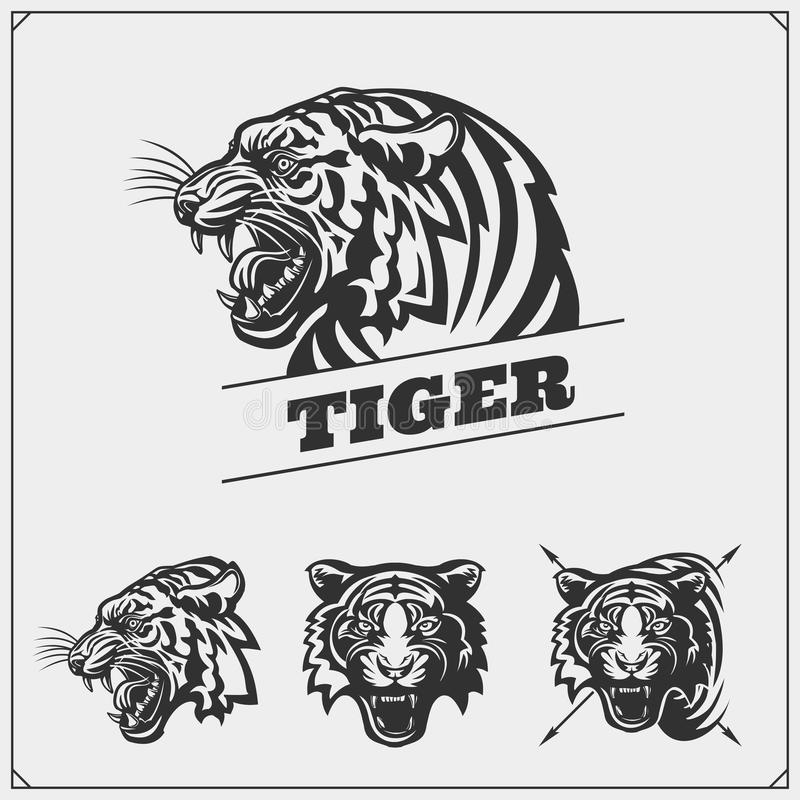 The emblems with tiger for a sport team. Vector illustration stock illustration