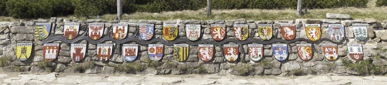 Download Emblems Of Towns Along Labe River Stock Image - Image: 19839569