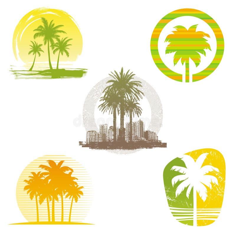 emblemsetikettpalmträd stock illustrationer