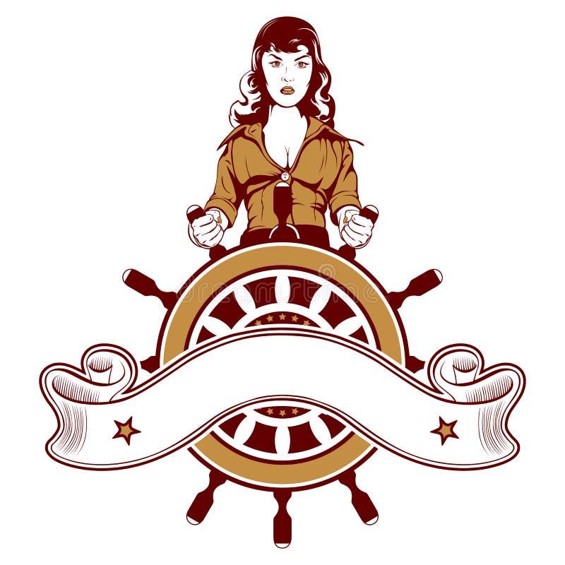 emblemsjömankvinna stock illustrationer