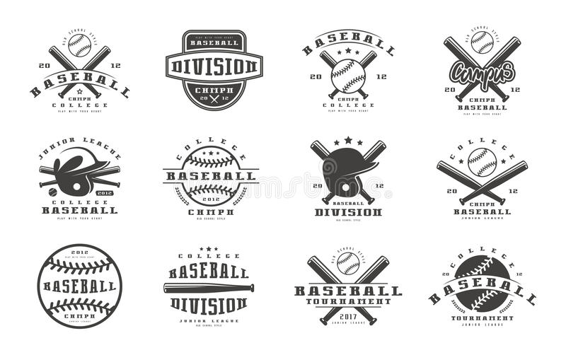 Emblemuppsättning av basketlagen vektor illustrationer
