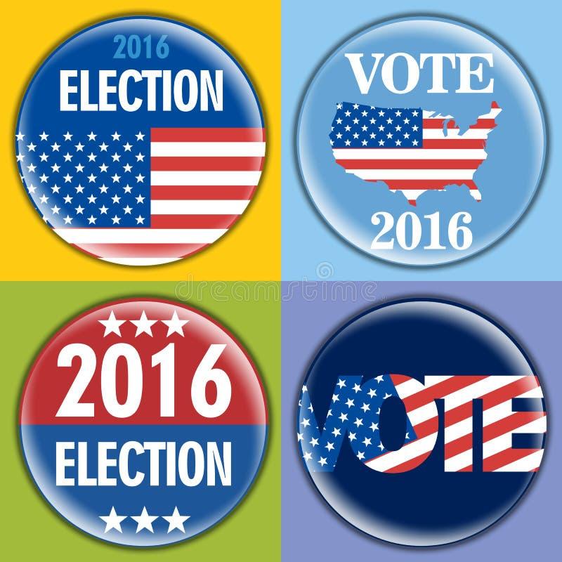 Emblemuppsättningen för val 2016 med förenar tillstånd av den Amerika flaggan royaltyfri illustrationer