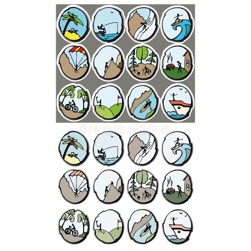 emblemupps?ttning Fritids- aktiviteter royaltyfri illustrationer