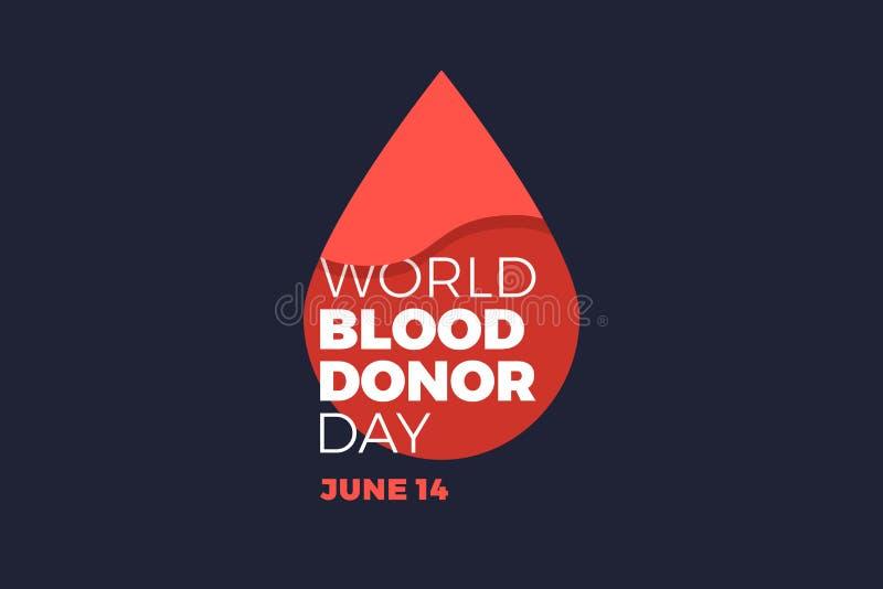 Emblemvärldsdag av givaren med droppe av blod på mörk bakgrund stock illustrationer