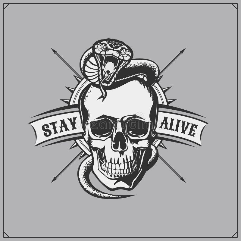 Emblemwhithskalle och orm Tryckdesign för t-skjortor royaltyfri illustrationer