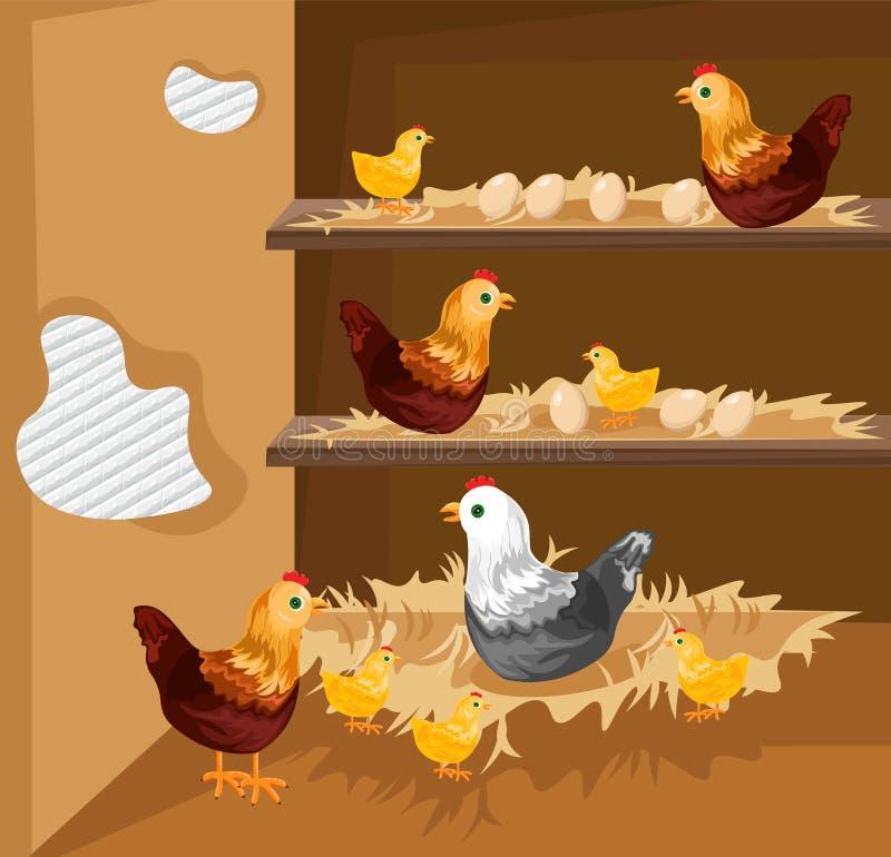 Emboîtement de poulet dans un vecteur de cage Mode de vie grandissant d'animaux de gamme gratuite écologique illustration stock