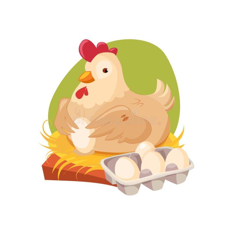 Emboîtement de poulet pondant les oeufs frais, ferme et cultivant l'illustration relative dans le style lumineux de bande dessiné illustration de vecteur