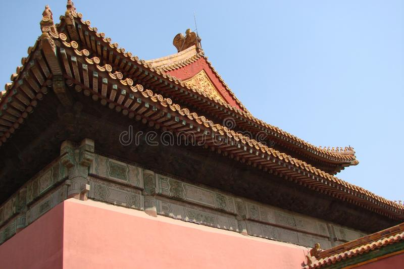 Beijing city. China. City view, Chinese art, Oriental religious architecture. The embodiment of oriental culture in ancient Chinese buildings is holding back stock images