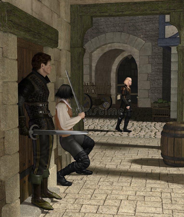 Emboscada em uma aléia medieval ilustração royalty free