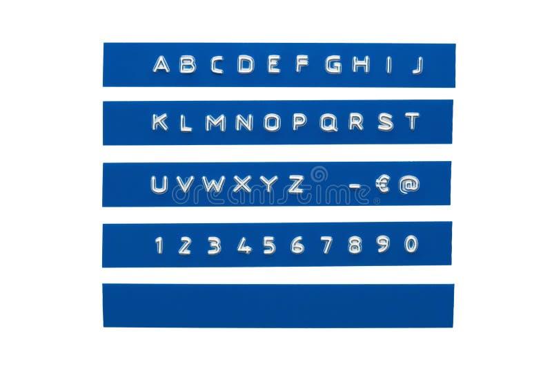 Embossed alphabet stock photography