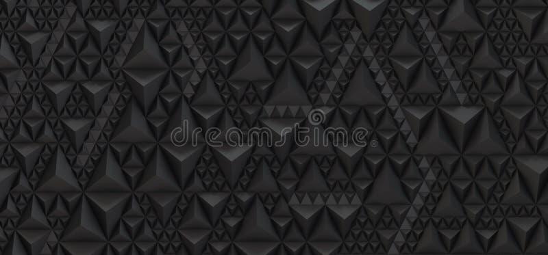Embossed black background of triangles - 3D illustration royalty free illustration