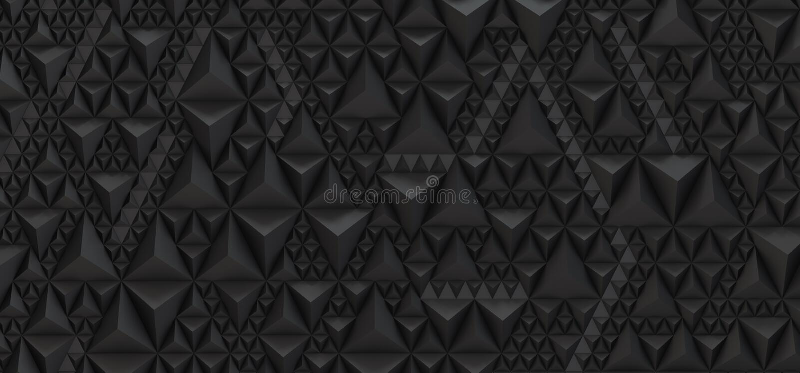 Embossed czarny tło trójboki - 3D ilustracja royalty ilustracja