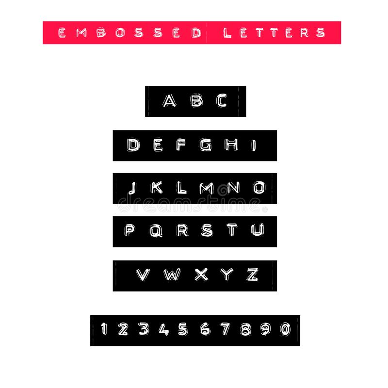 Embossed letters tape font. Vintage adhesive label type. Vector alphabet. royalty free illustration