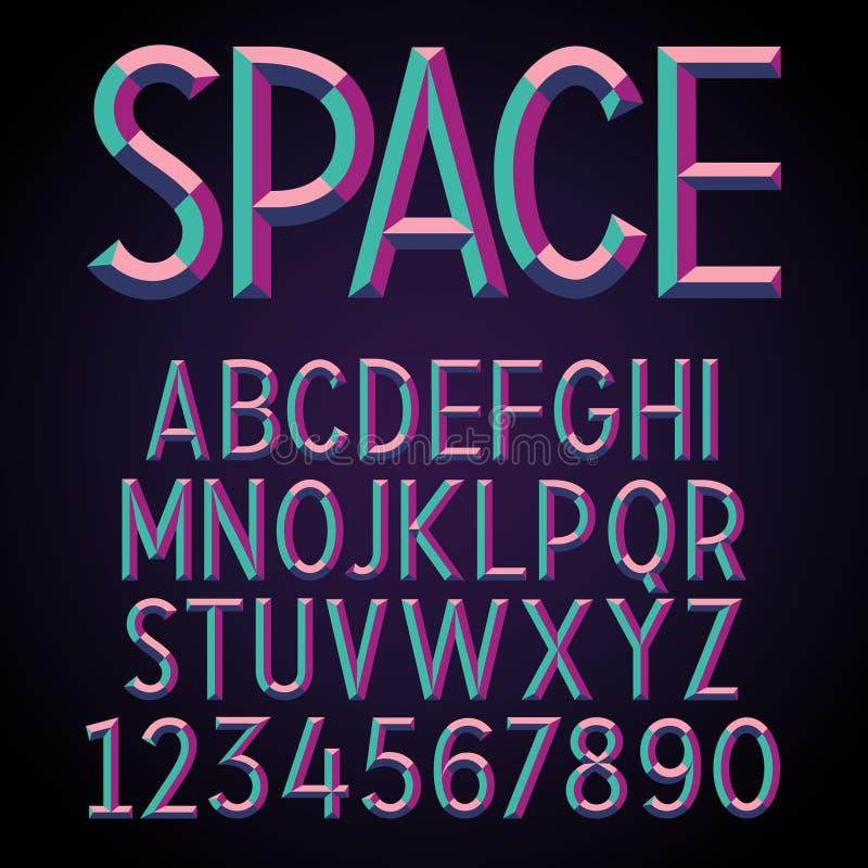 Embossed Stereo Font vector illustration