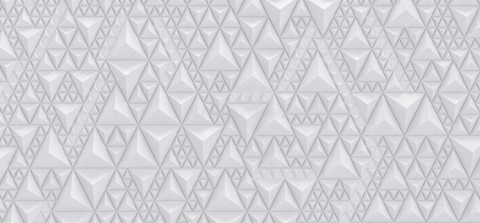 Embossed white background of triangles - 3D illustration royalty free illustration