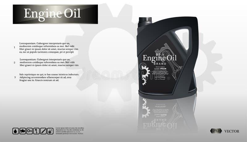 Embotelle el aceite de motor en el fondo blanco con el engranaje, vector limpio Imagen realista del vector 3D caja ilustración del vector