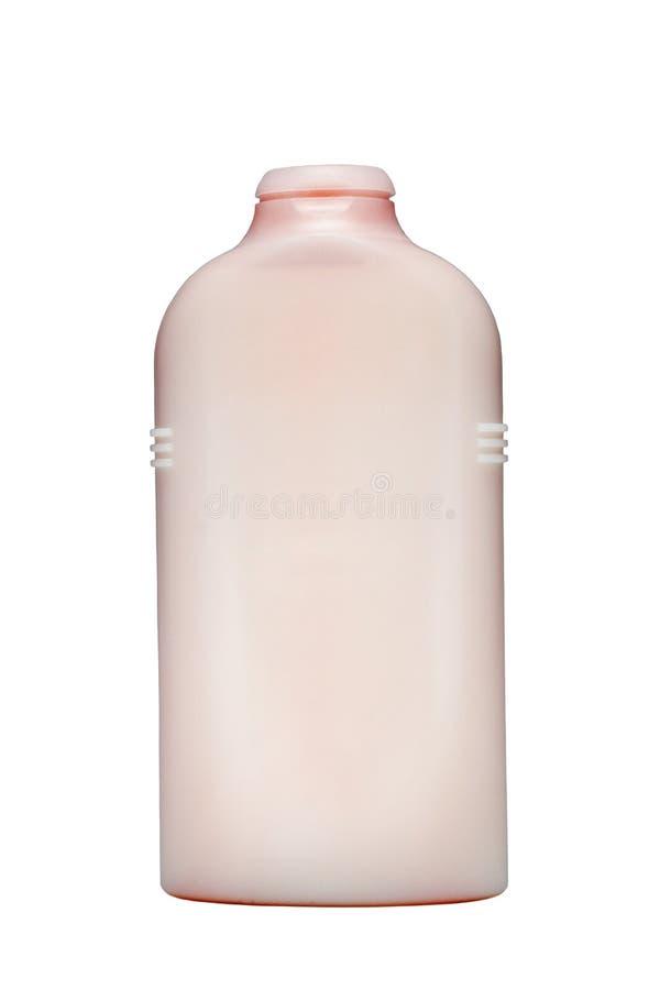 Embotelle el producto para el pastel rosado de la ducha y del cuarto de baño aislado Champú, jabón líquido, gel de la ducha Fondo imágenes de archivo libres de regalías