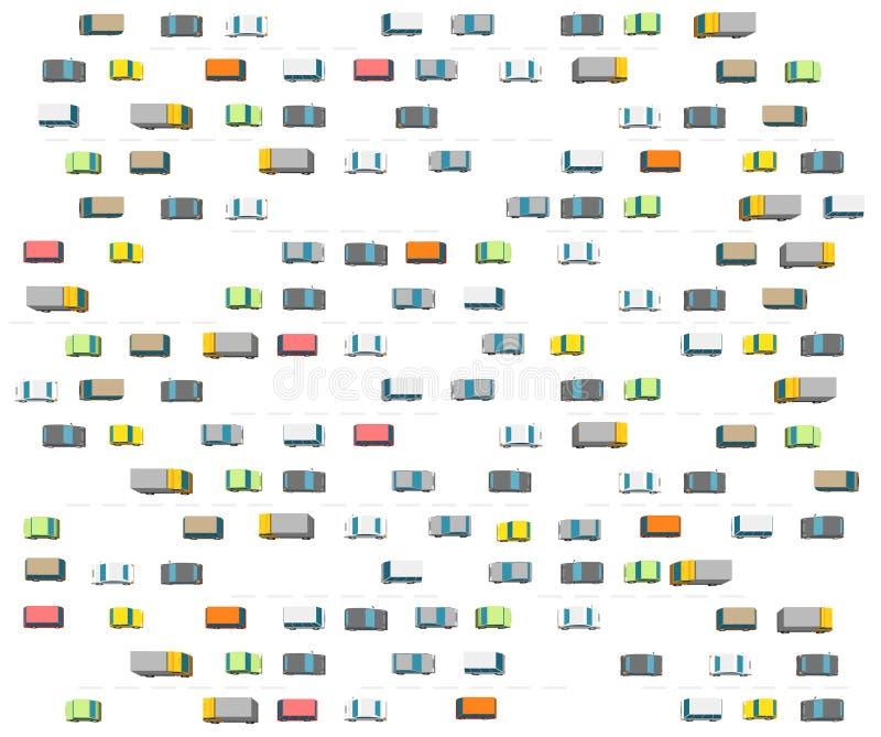 Embouteillage beaucoup de route de transport de voiture r Couleurs claires sur le fond blanc illustration libre de droits