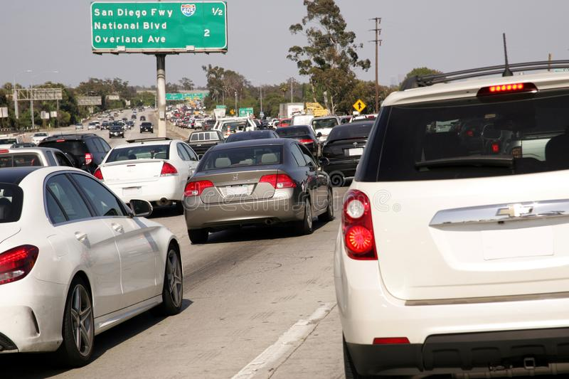 Embouteillage est de 10 Fwy Los Angeles du centre images stock
