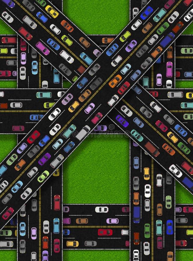 Embouteillage sur des routes illustration de vecteur