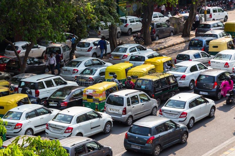 Embouteillages à Delhi, Inde image libre de droits