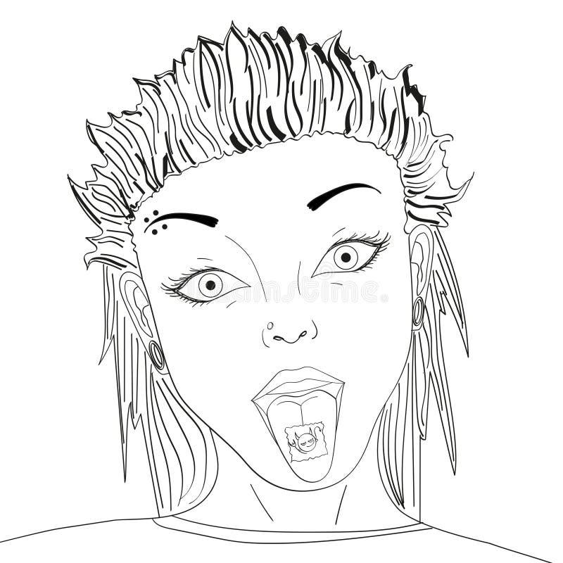 Emboutissez avec la drogue de lsd sur illustration de vecteur d'art de bruit de langue la rétro Acide narcotique Objet sur le fon illustration stock