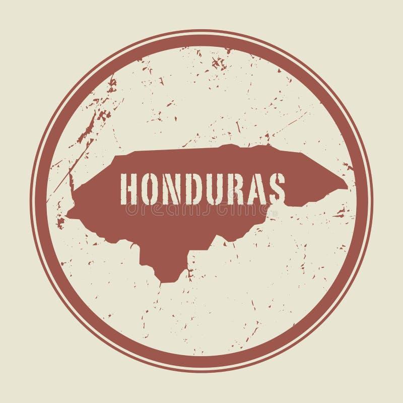 Emboutissez avec le nom et la carte du Honduras illustration stock