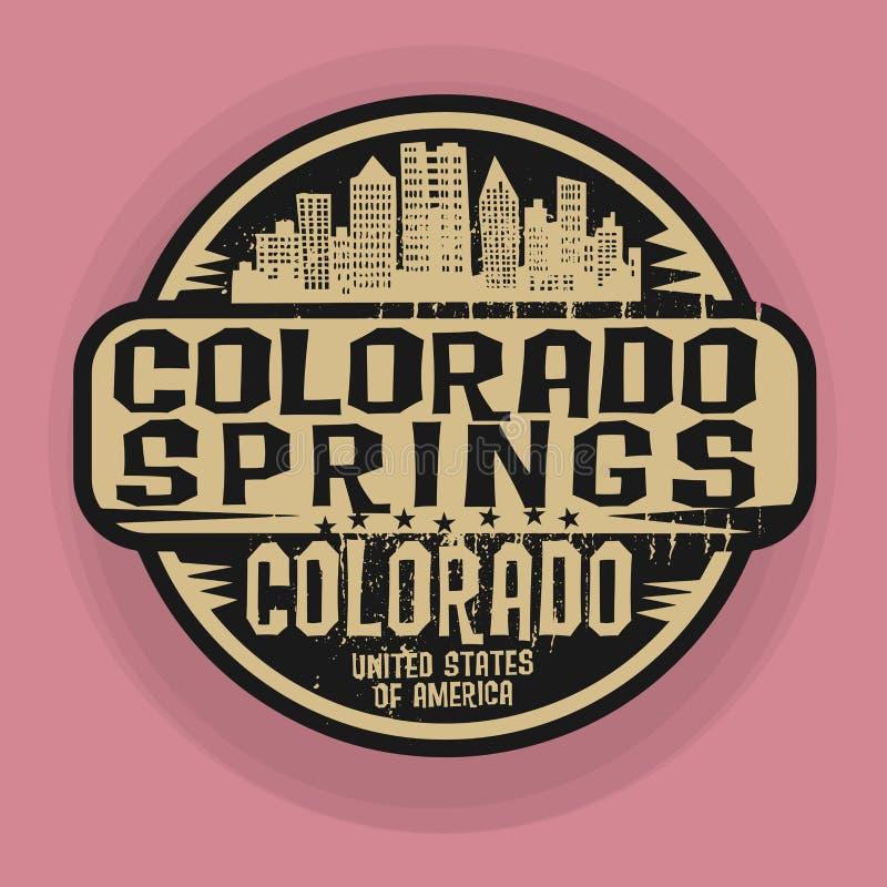 Emboutissez ou label avec le nom de Colorado Springs, le Colorado illustration stock