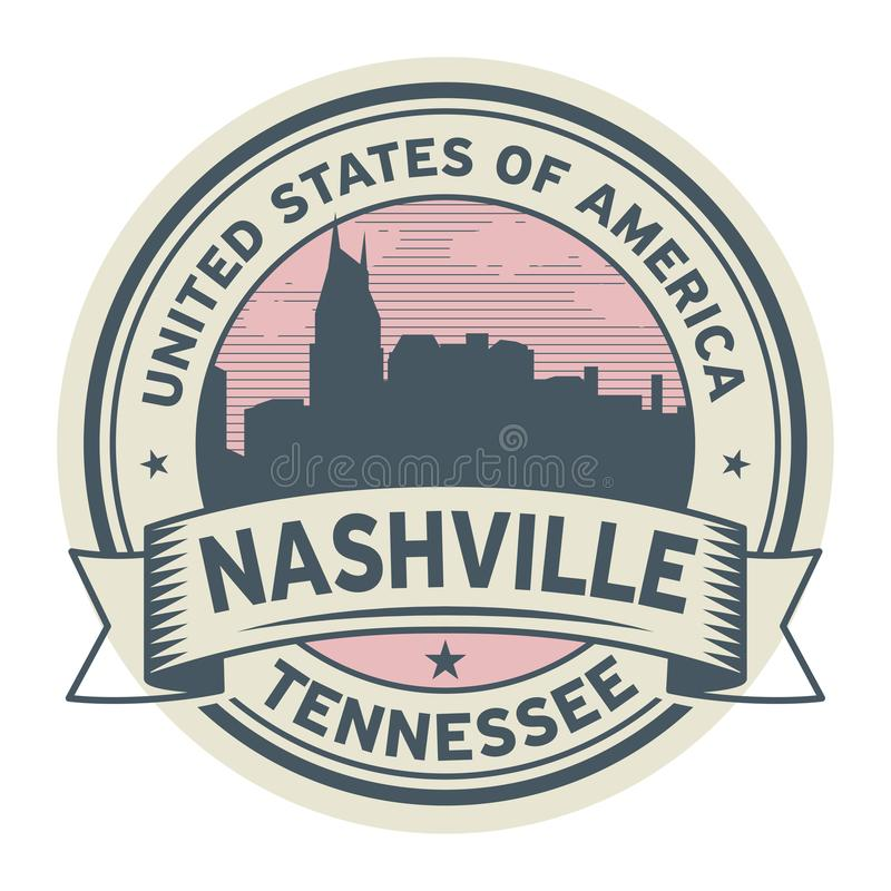 Emboutissez ou label avec le nom de Nashville, Tennessee illustration de vecteur