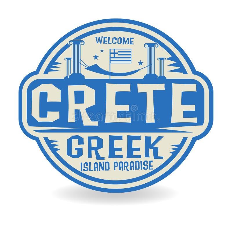 Emboutissez ou label avec le nom le paradis grec de Crète, île illustration de vecteur