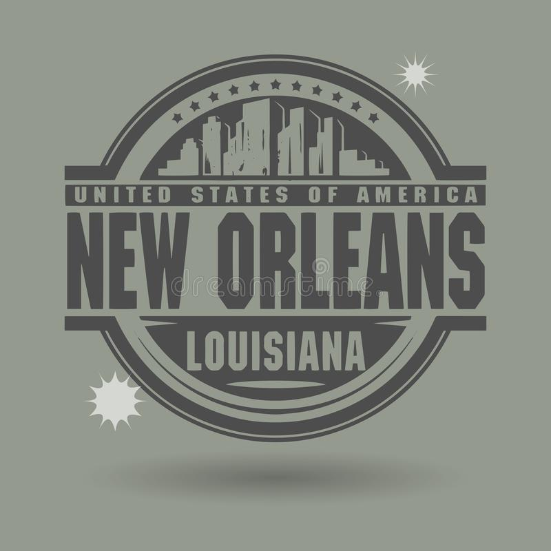 Emboutissez ou label avec le texte la Nouvelle-Orléans, Louisiane à l'intérieur illustration libre de droits