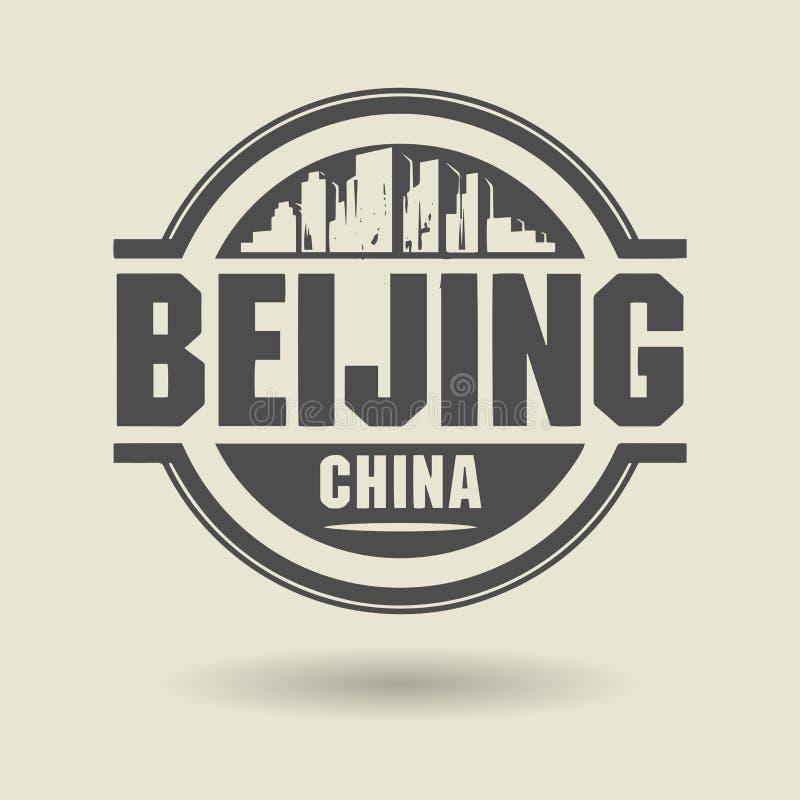 Emboutissez ou label avec le texte Pékin, Chine à l'intérieur illustration de vecteur