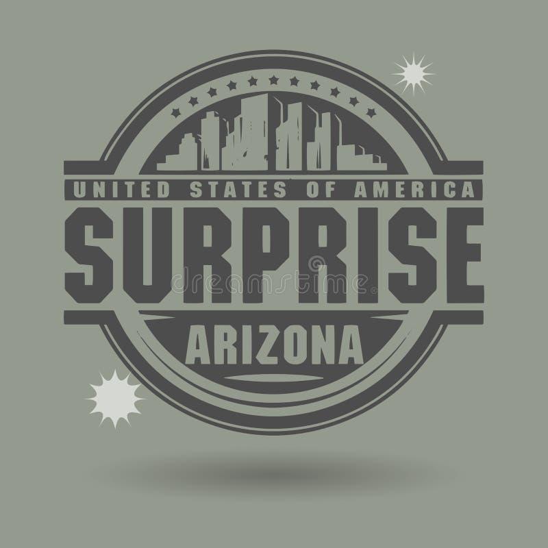 Emboutissez ou label avec surprise des textes, Arizona à l'intérieur illustration libre de droits