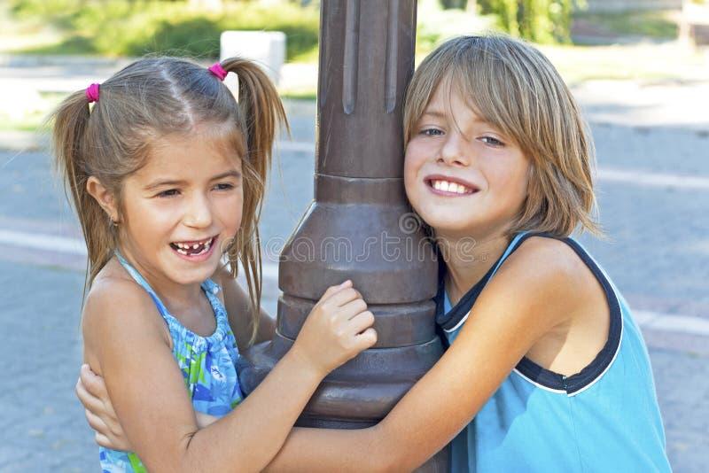 Embrace Happy Kids Royalty Free Stock Photography