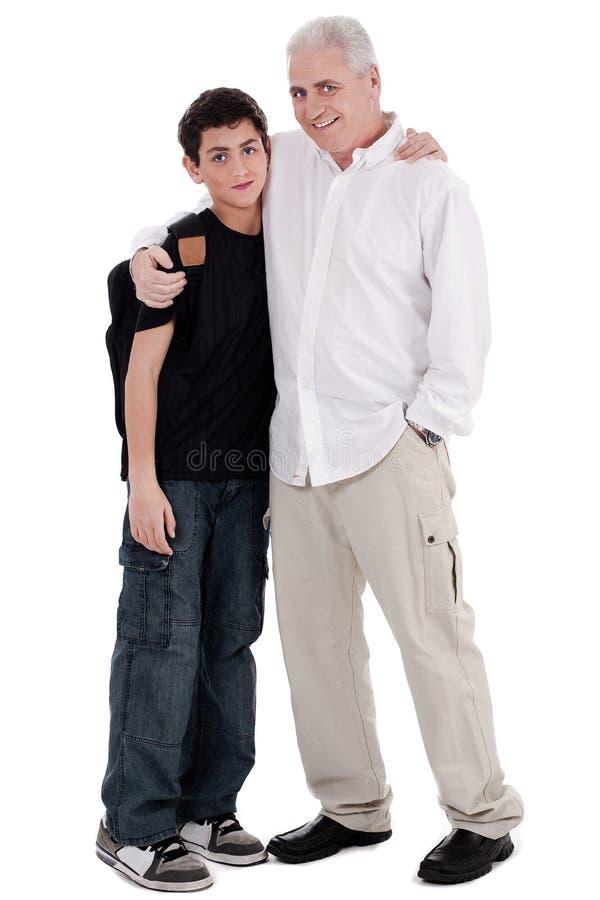 embraces будут отцом его сынка стоковое изображение