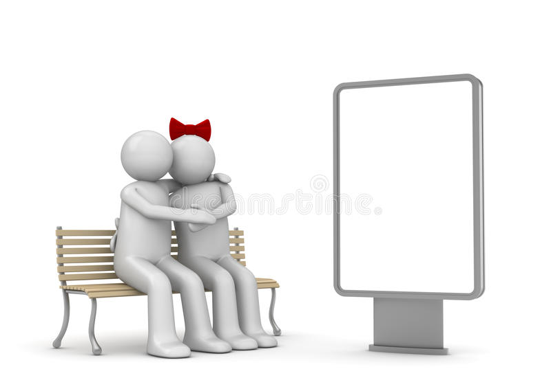 Embracing couple on a bench with copyspace stock photography