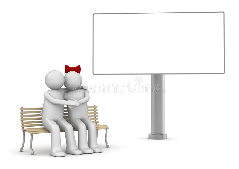 Embracing couple on a bench with copyspace stock image