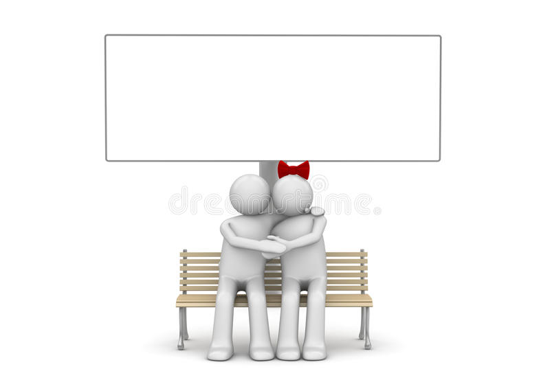Embracing couple on a bench with copyspace royalty free stock image