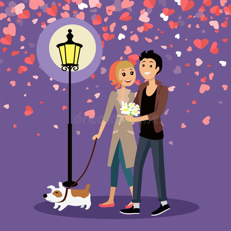 Valentine Couple Walking Outdoor with Dog Vector. Embracing couple walking outdoor with dog near glowing lantern. Man giving bouquet of daisies to woman vector illustration